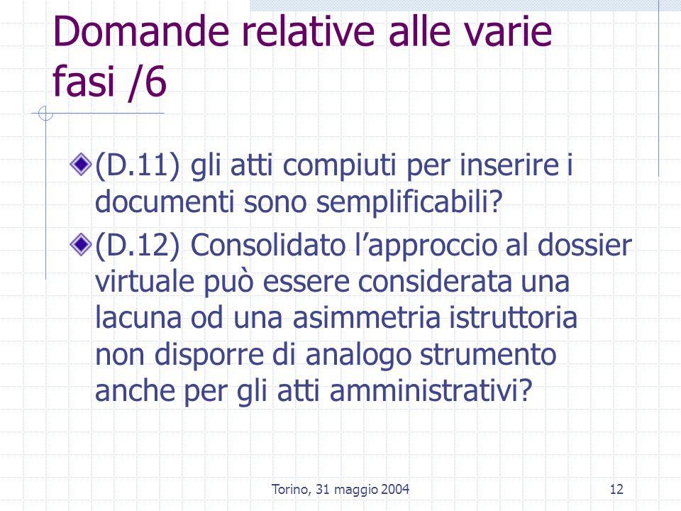 Torino, 31 maggio 200412 Domande relative alle varie fasi /6 (D.11) gli atti compiuti per inserire i documenti sono semplificabili? (D.12) Consolidato