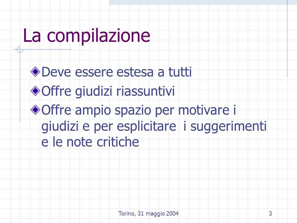 Torino, 31 maggio 20043 La compilazione Deve essere estesa a tutti Offre giudizi riassuntivi Offre ampio spazio per motivare i giudizi e per esplicitare i suggerimenti e le note critiche
