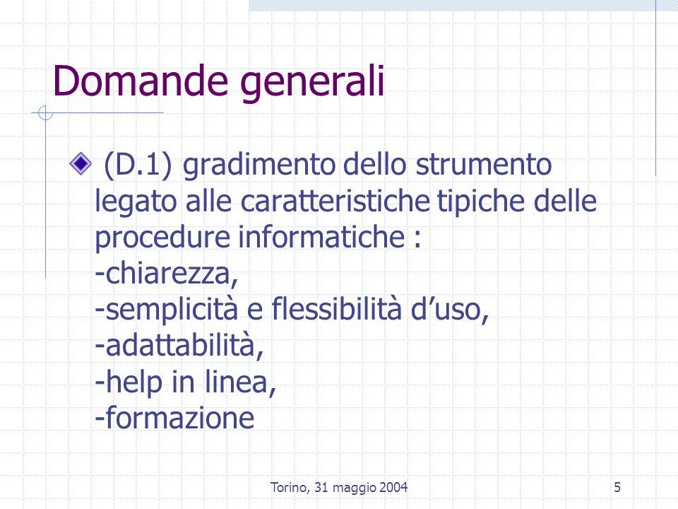 Torino, 31 maggio 20045 Domande generali (D.1) gradimento dello strumento legato alle caratteristiche tipiche delle procedure informatiche : -chiarezza, -semplicità e flessibilità duso, -adattabilità, -help in linea, -formazione