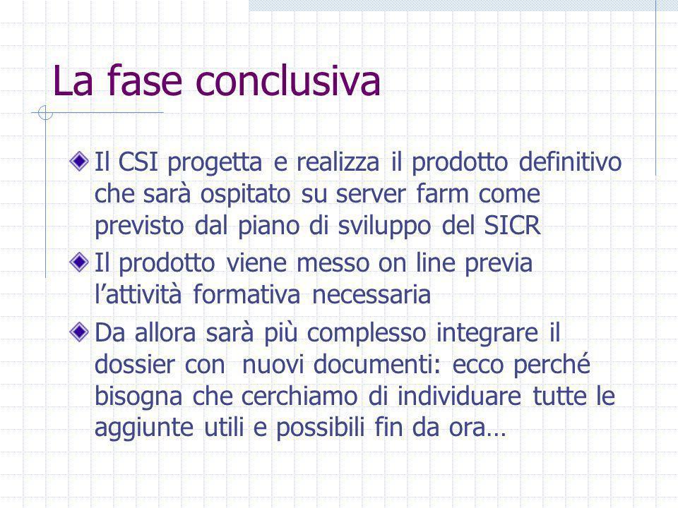 La fase conclusiva Il CSI progetta e realizza il prodotto definitivo che sarà ospitato su server farm come previsto dal piano di sviluppo del SICR Il