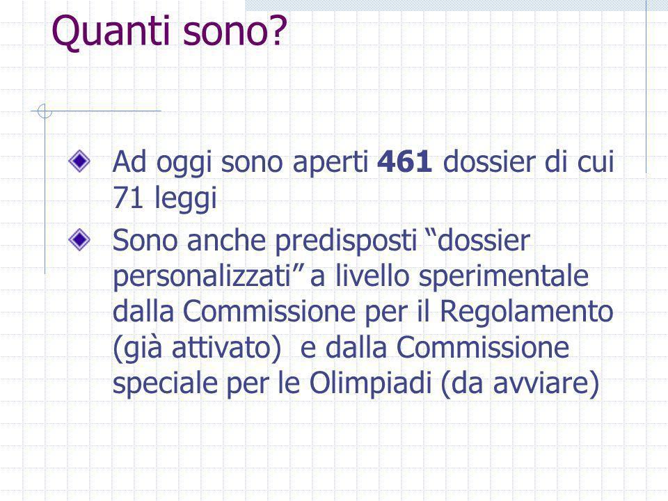 Quanti sono? Ad oggi sono aperti 461 dossier di cui 71 leggi Sono anche predisposti dossier personalizzati a livello sperimentale dalla Commissione pe