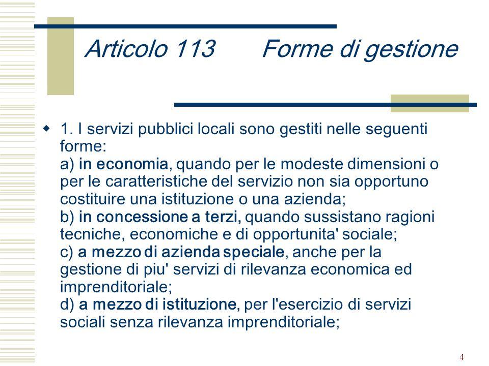 4 Articolo 113 Forme di gestione 1.