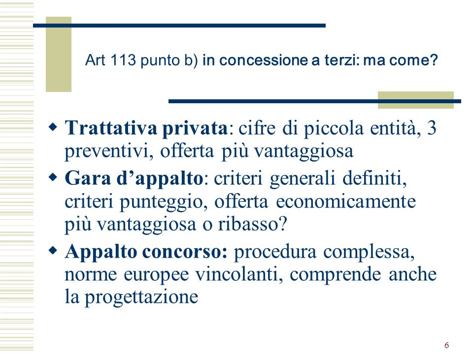 6 Art 113 punto b) in concessione a terzi: ma come.