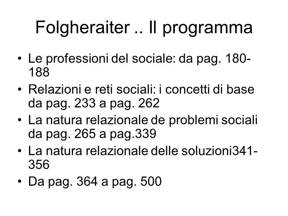 Folgheraiter.. Il programma Le professioni del sociale: da pag. 180- 188 Relazioni e reti sociali: i concetti di base da pag. 233 a pag. 262 La natura