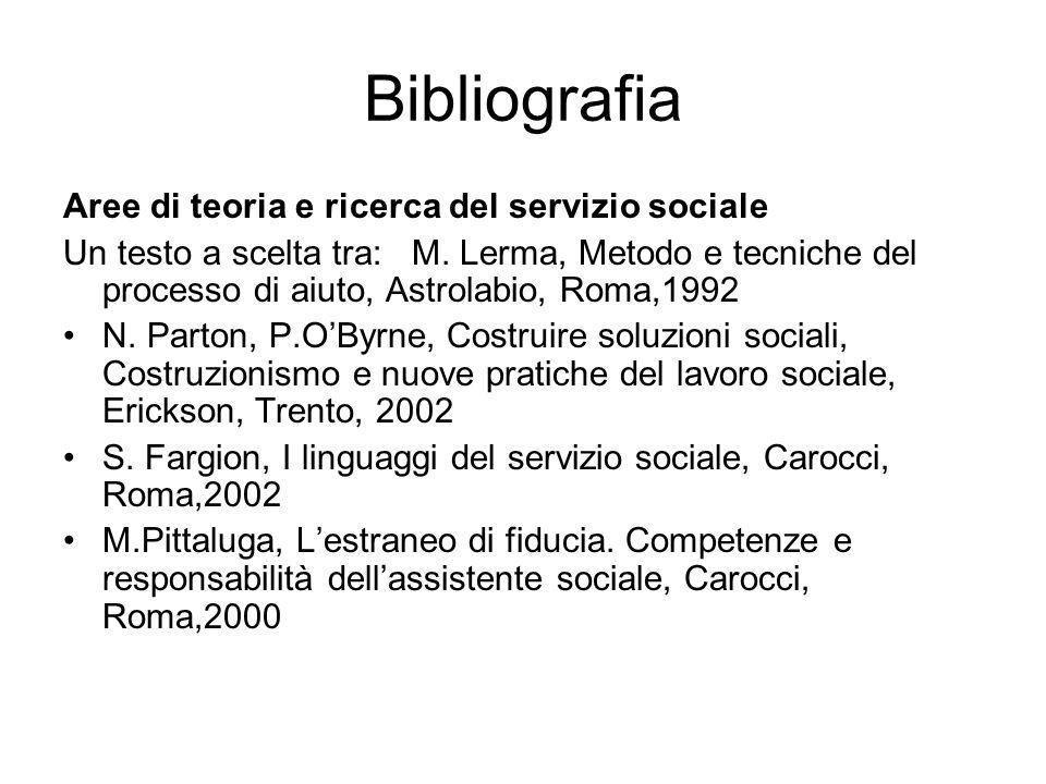 Bibliografia Aree di teoria e ricerca del servizio sociale Un testo a scelta tra: M. Lerma, Metodo e tecniche del processo di aiuto, Astrolabio, Roma,