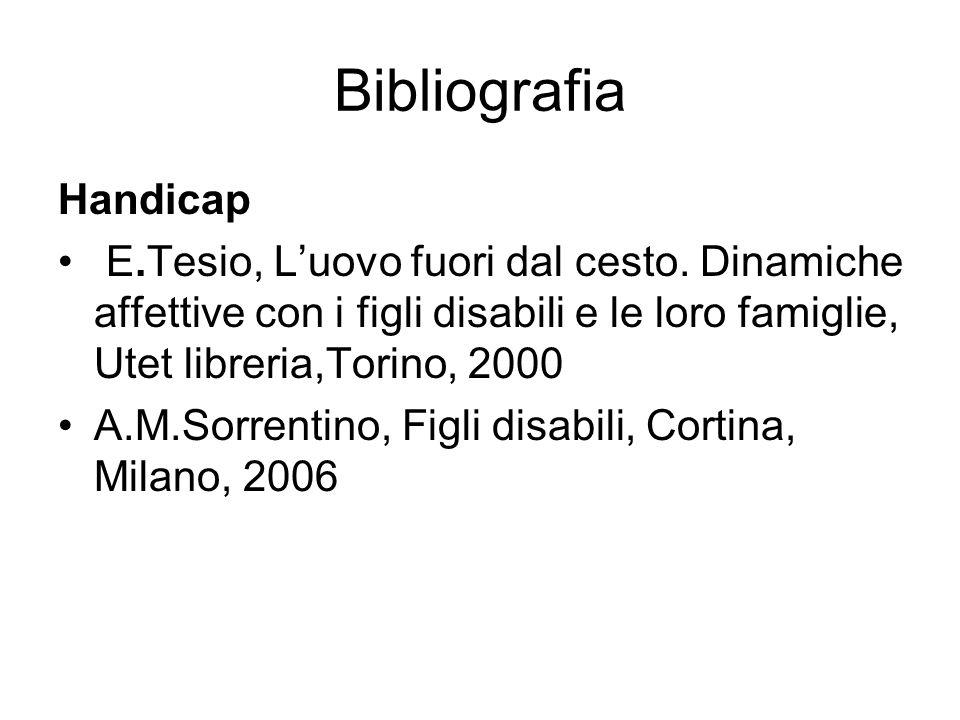 Bibliografia Handicap E.Tesio, Luovo fuori dal cesto. Dinamiche affettive con i figli disabili e le loro famiglie, Utet libreria,Torino, 2000 A.M.Sorr