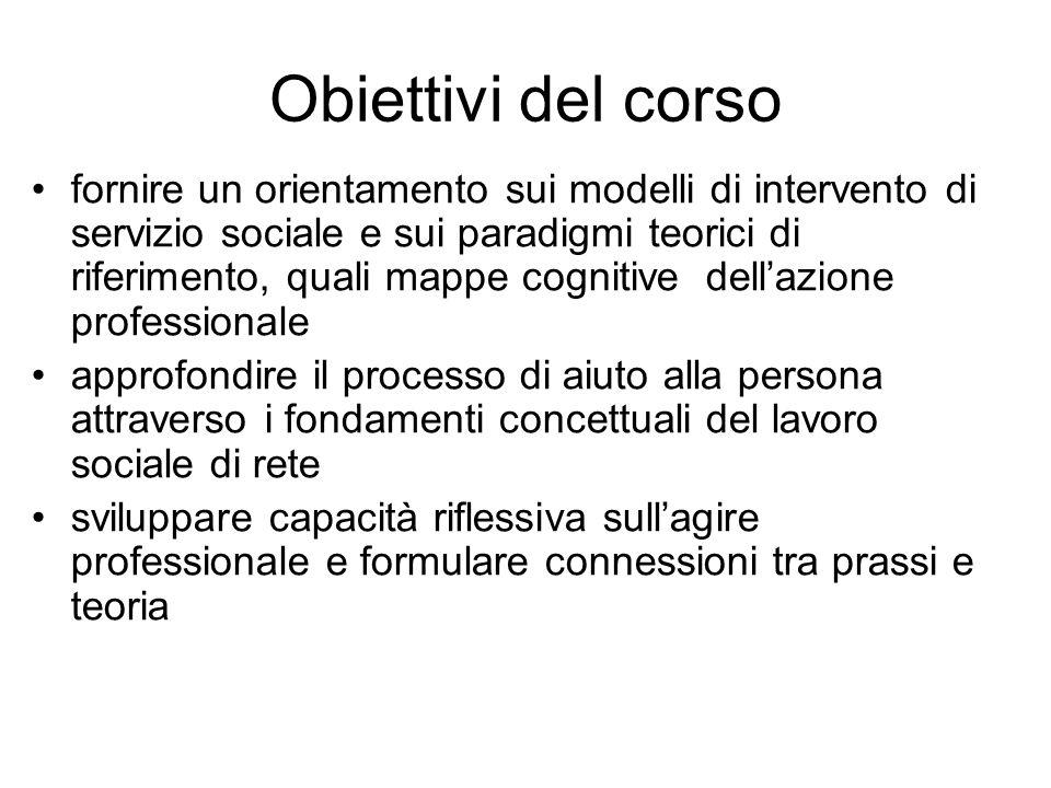Obiettivi del corso fornire un orientamento sui modelli di intervento di servizio sociale e sui paradigmi teorici di riferimento, quali mappe cognitiv