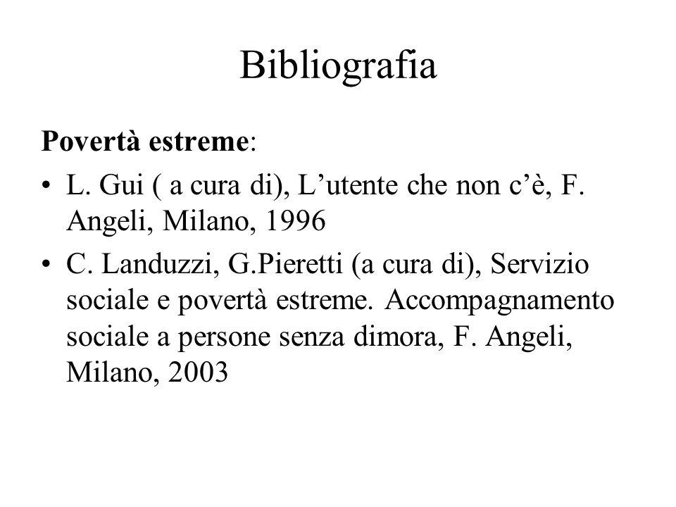Bibliografia Povertà estreme: L. Gui ( a cura di), Lutente che non cè, F. Angeli, Milano, 1996 C. Landuzzi, G.Pieretti (a cura di), Servizio sociale e