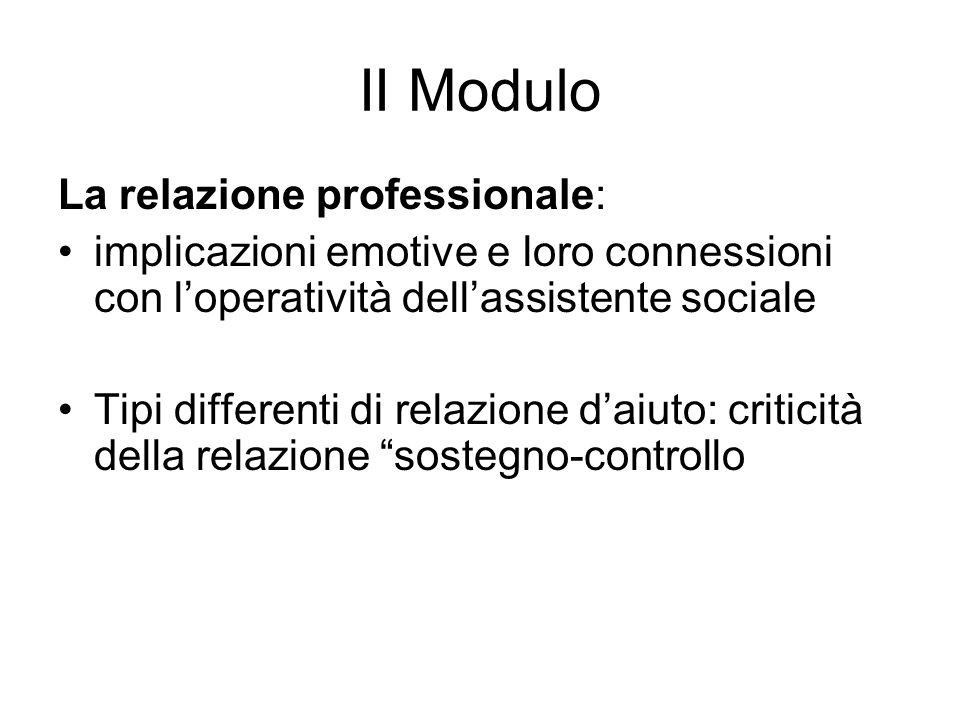 II Modulo La relazione professionale: implicazioni emotive e loro connessioni con loperatività dellassistente sociale Tipi differenti di relazione dai