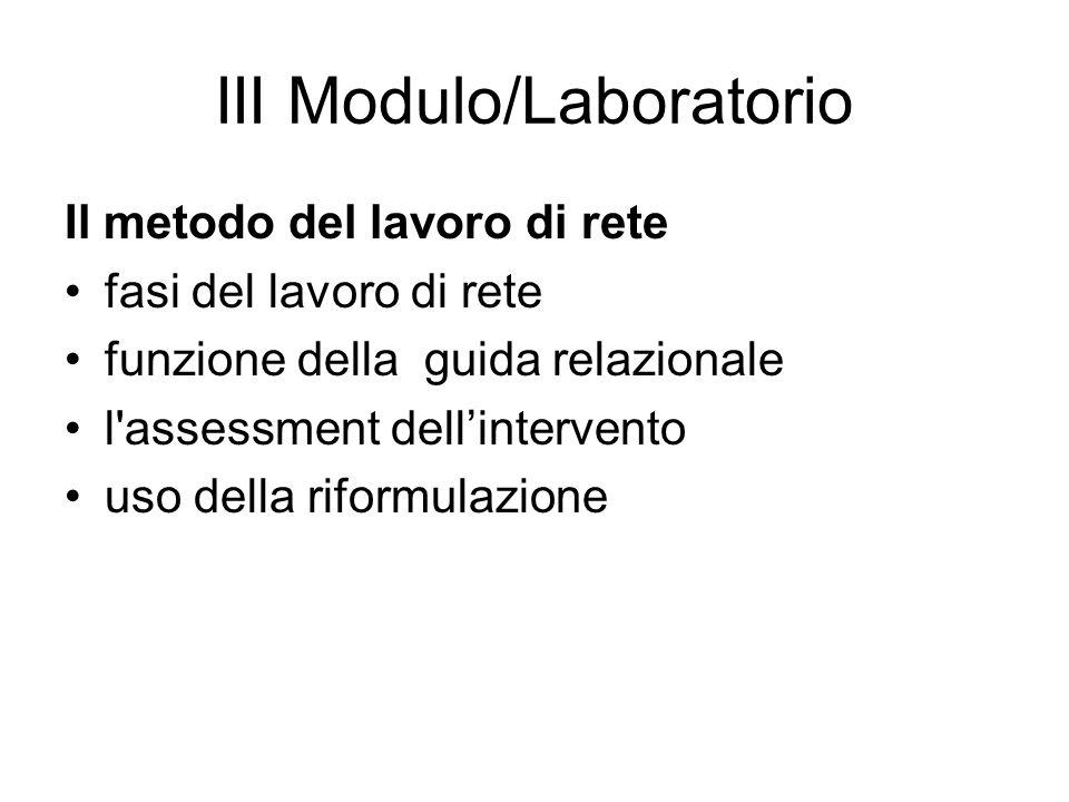 III Modulo/Laboratorio Il metodo del lavoro di rete fasi del lavoro di rete funzione della guida relazionale l'assessment dellintervento uso della rif
