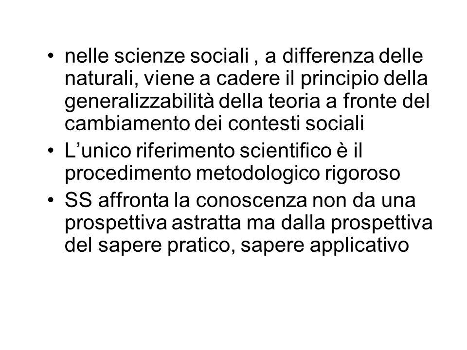 nelle scienze sociali, a differenza delle naturali, viene a cadere il principio della generalizzabilità della teoria a fronte del cambiamento dei cont