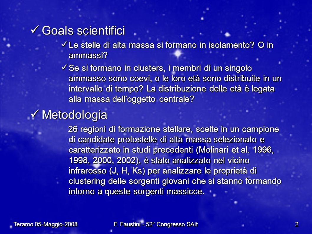 Teramo 05-Maggio-2008F. Faustini - 52° Congresso SAIt2 Goals scientifici Goals scientifici Le stelle di alta massa si formano in isolamento? O in amma