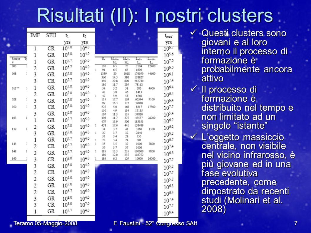Teramo 05-Maggio-2008F. Faustini - 52° Congresso SAIt7 Risultati (II): I nostri clusters Questi clusters sono giovani e al loro interno il processo di