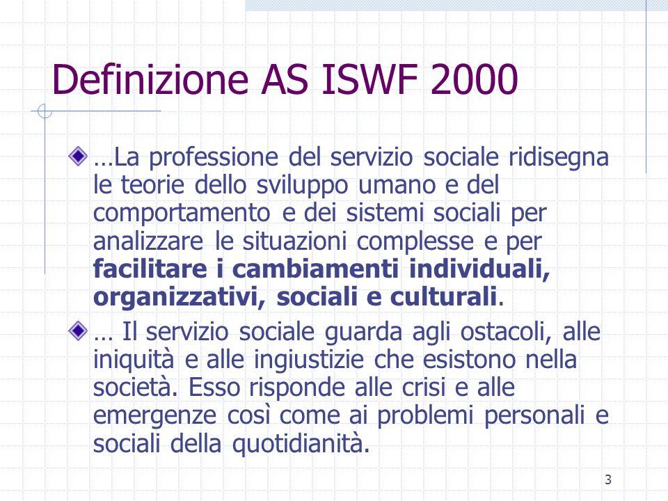 3 Definizione AS ISWF 2000 …La professione del servizio sociale ridisegna le teorie dello sviluppo umano e del comportamento e dei sistemi sociali per analizzare le situazioni complesse e per facilitare i cambiamenti individuali, organizzativi, sociali e culturali.