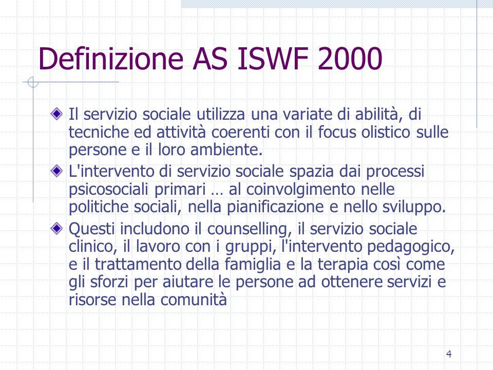 4 Definizione AS ISWF 2000 Il servizio sociale utilizza una variate di abilità, di tecniche ed attività coerenti con il focus olistico sulle persone e il loro ambiente.
