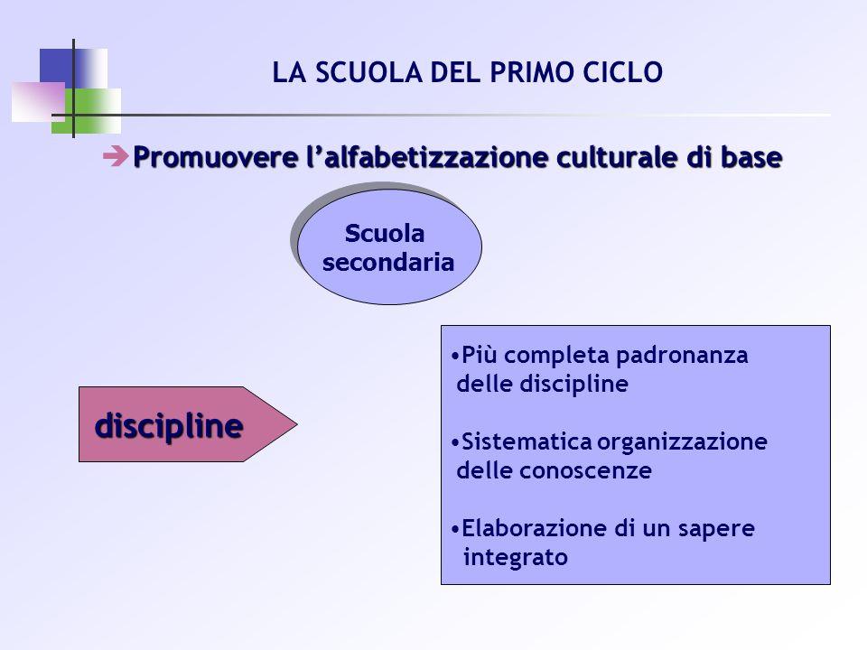 Promuovere lalfabetizzazione culturale di base LA SCUOLA DEL PRIMO CICLO Scuola secondaria Scuola secondaria discipline Più completa padronanza delle