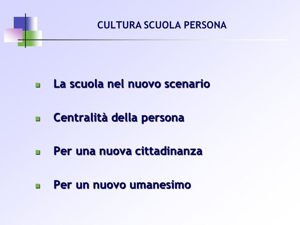 CULTURA SCUOLA PERSONA La scuola nel nuovo scenario La scuola nel nuovo scenario Centralità della persona Centralità della persona Per una nuova citta
