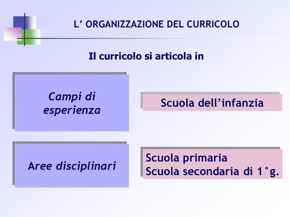 Il curricolo si articola in Campi di esperienza Aree disciplinari Scuola primaria Scuola secondaria di 1°g. Scuola primaria Scuola secondaria di 1°g.