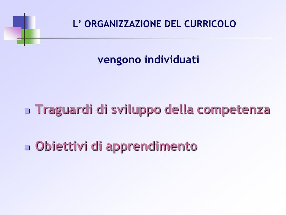 vengono individuati Traguardi di sviluppo della competenza Traguardi di sviluppo della competenza Obiettivi di apprendimento Obiettivi di apprendiment