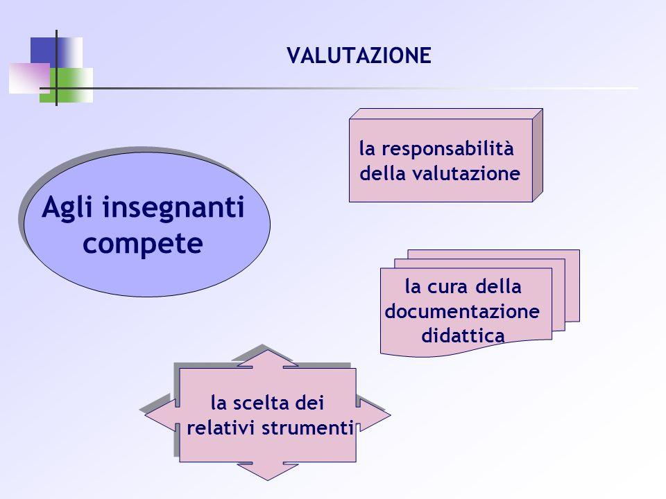 VALUTAZIONE Agli insegnanti compete Agli insegnanti compete la cura della documentazione didattica la responsabilità della valutazione la scelta dei r