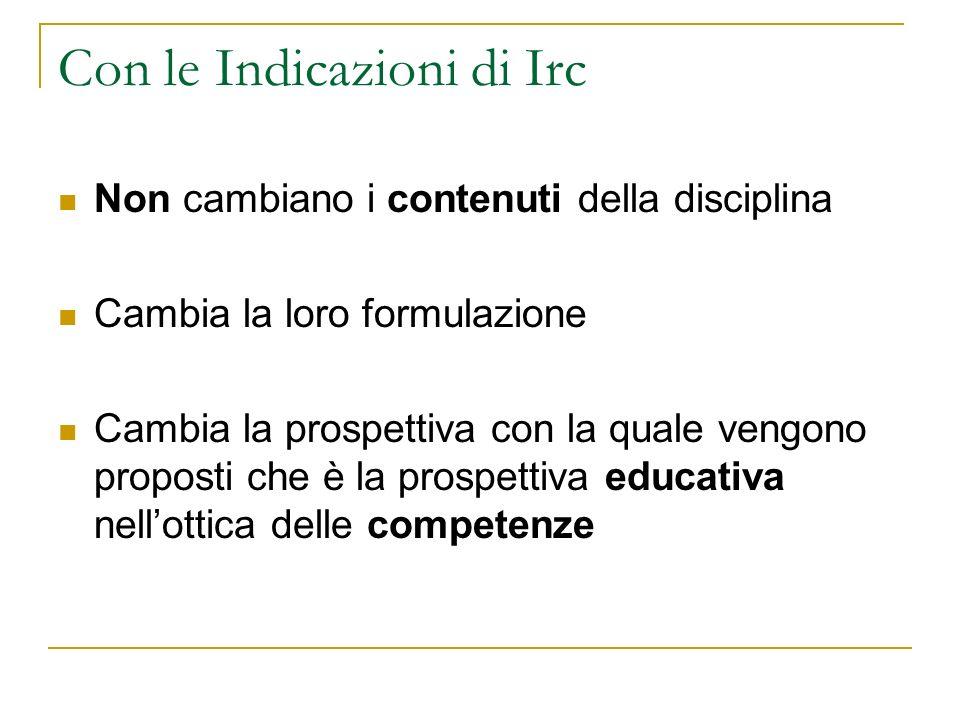 Con le Indicazioni di Irc Non cambiano i contenuti della disciplina Cambia la loro formulazione Cambia la prospettiva con la quale vengono proposti ch