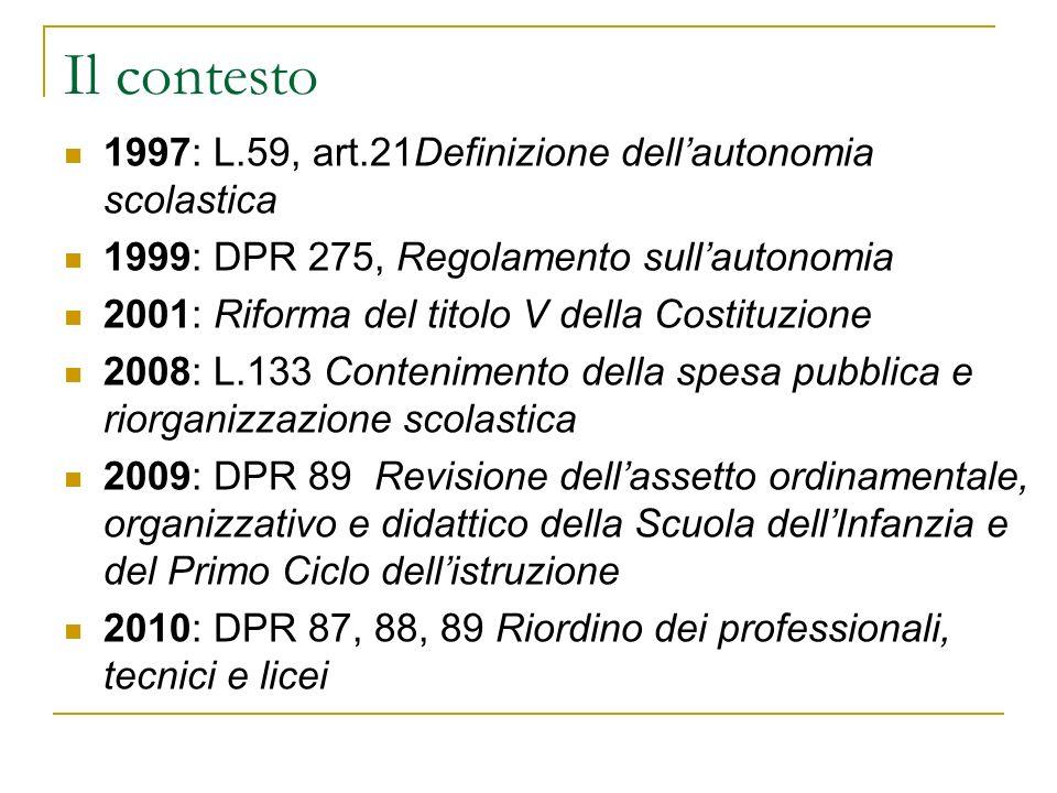 Il contesto 1997: L.59, art.21Definizione dellautonomia scolastica 1999: DPR 275, Regolamento sullautonomia 2001: Riforma del titolo V della Costituzi