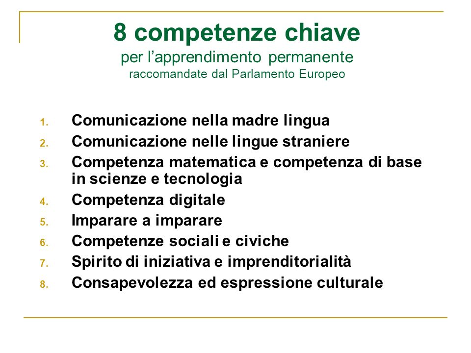 8 competenze chiave per lapprendimento permanente raccomandate dal Parlamento Europeo 1. Comunicazione nella madre lingua 2. Comunicazione nelle lingu