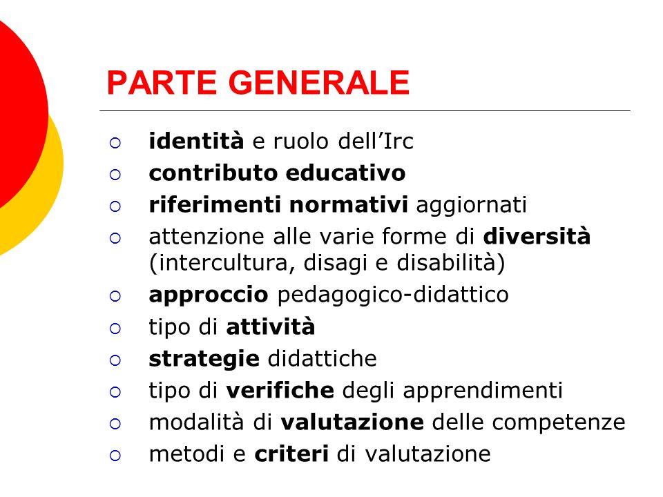 PARTE GENERALE identità e ruolo dellIrc contributo educativo riferimenti normativi aggiornati attenzione alle varie forme di diversità (intercultura,
