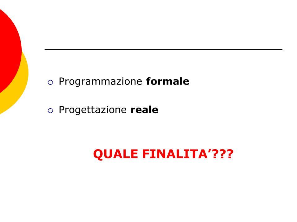 Programmazione formale Progettazione reale QUALE FINALITA???