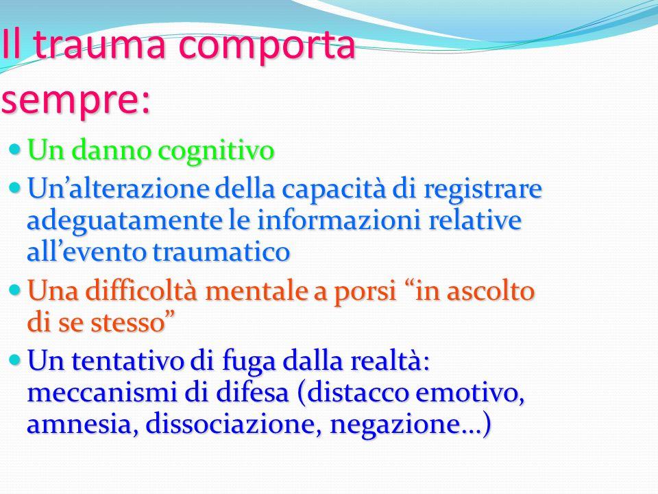 Il trauma comporta sempre: Un danno cognitivo Un danno cognitivo Unalterazione della capacità di registrare adeguatamente le informazioni relative all