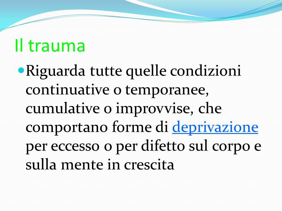 Il trauma Riguarda tutte quelle condizioni continuative o temporanee, cumulative o improvvise, che comportano forme di deprivazione per eccesso o per