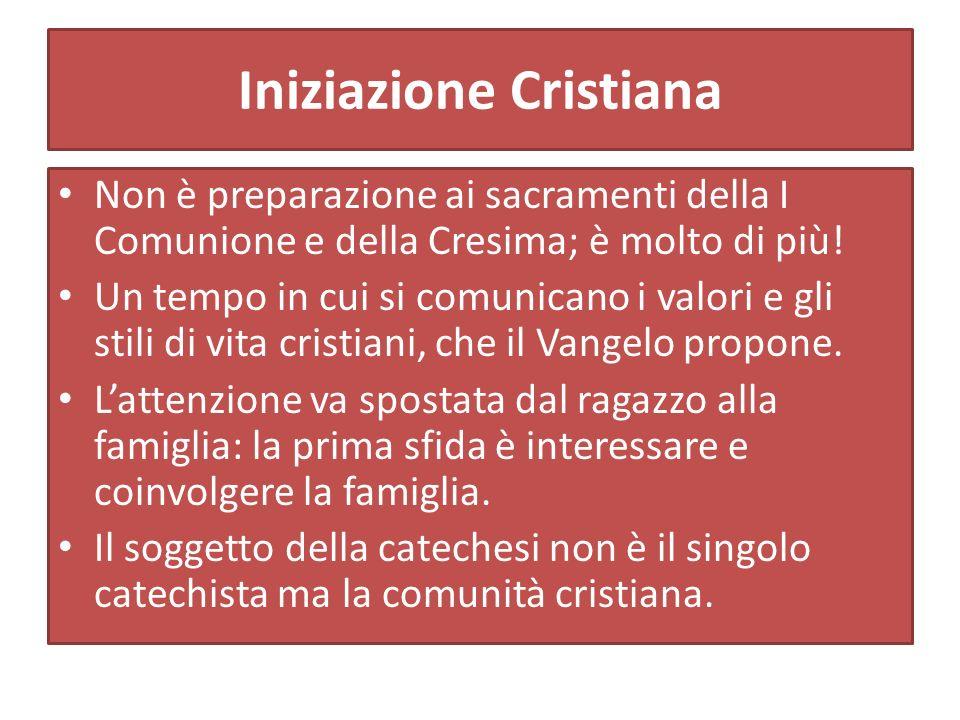 Iniziazione Cristiana Non è preparazione ai sacramenti della I Comunione e della Cresima; è molto di più! Un tempo in cui si comunicano i valori e gli