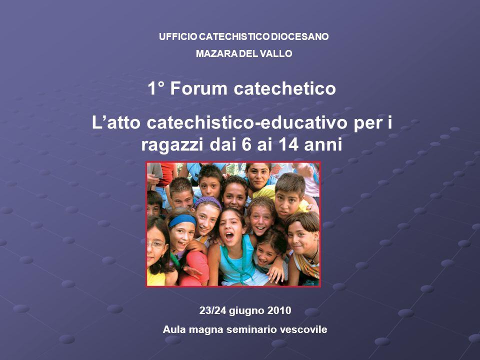 UFFICIO CATECHISTICO DIOCESANO MAZARA DEL VALLO 1° Forum catechetico Latto catechistico-educativo per i ragazzi dai 6 ai 14 anni 23/24 giugno 2010 Aul