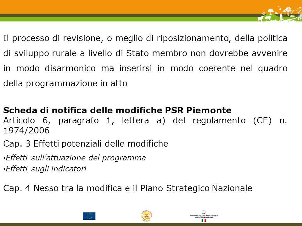 Il processo di revisione, o meglio di riposizionamento, della politica di sviluppo rurale a livello di Stato membro non dovrebbe avvenire in modo disarmonico ma inserirsi in modo coerente nel quadro della programmazione in atto Scheda di notifica delle modifiche PSR Piemonte Articolo 6, paragrafo 1, lettera a) del regolamento (CE) n.