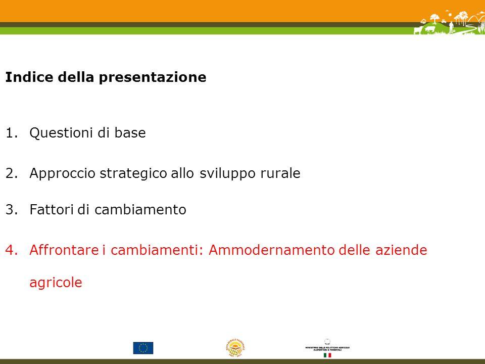 Indice della presentazione 1.Questioni di base 2.Approccio strategico allo sviluppo rurale 3.Fattori di cambiamento 4.Affrontare i cambiamenti: Ammodernamento delle aziende agricole