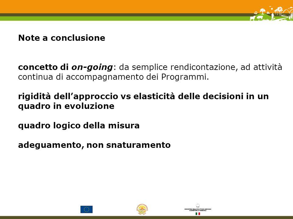 Note a conclusione concetto di on-going: da semplice rendicontazione, ad attività continua di accompagnamento dei Programmi.