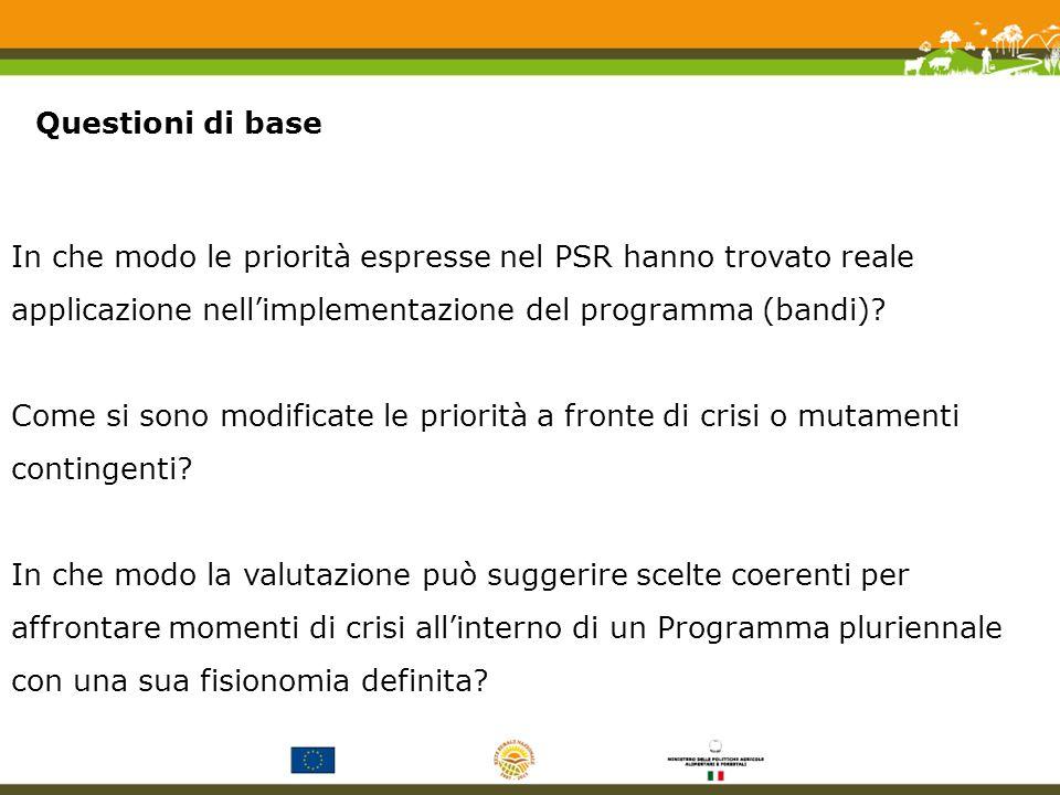 In che modo le priorità espresse nel PSR hanno trovato reale applicazione nellimplementazione del programma (bandi).