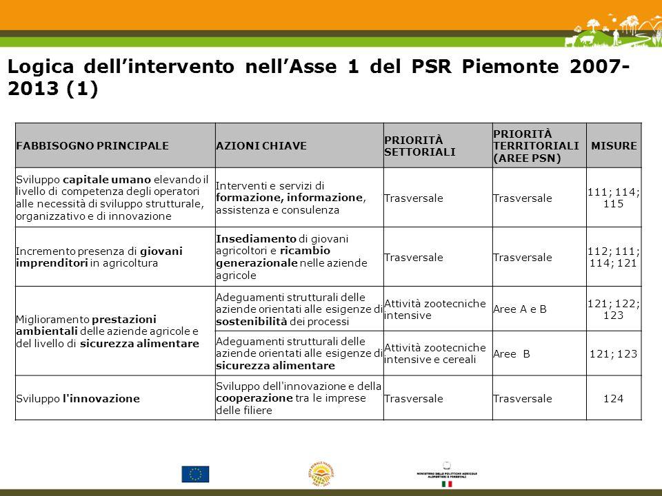 Logica dellintervento nellAsse 1 del PSR Piemonte 2007- 2013 (1) FABBISOGNO PRINCIPALEAZIONI CHIAVE PRIORITÀ SETTORIALI PRIORITÀ TERRITORIALI (AREE PSN) MISURE Sviluppo capitale umano elevando il livello di competenza degli operatori alle necessità di sviluppo strutturale, organizzativo e di innovazione Interventi e servizi di formazione, informazione, assistenza e consulenza Trasversale 111; 114; 115 Incremento presenza di giovani imprenditori in agricoltura Insediamento di giovani agricoltori e ricambio generazionale nelle aziende agricole Trasversale 112; 111; 114; 121 Miglioramento prestazioni ambientali delle aziende agricole e del livello di sicurezza alimentare Adeguamenti strutturali delle aziende orientati alle esigenze di sostenibilità dei processi Attività zootecniche intensive Aree A e B 121; 122; 123 Adeguamenti strutturali delle aziende orientati alle esigenze di sicurezza alimentare Attività zootecniche intensive e cereali Aree B121; 123 Sviluppo l innovazione Sviluppo dell innovazione e della cooperazione tra le imprese delle filiere Trasversale 124
