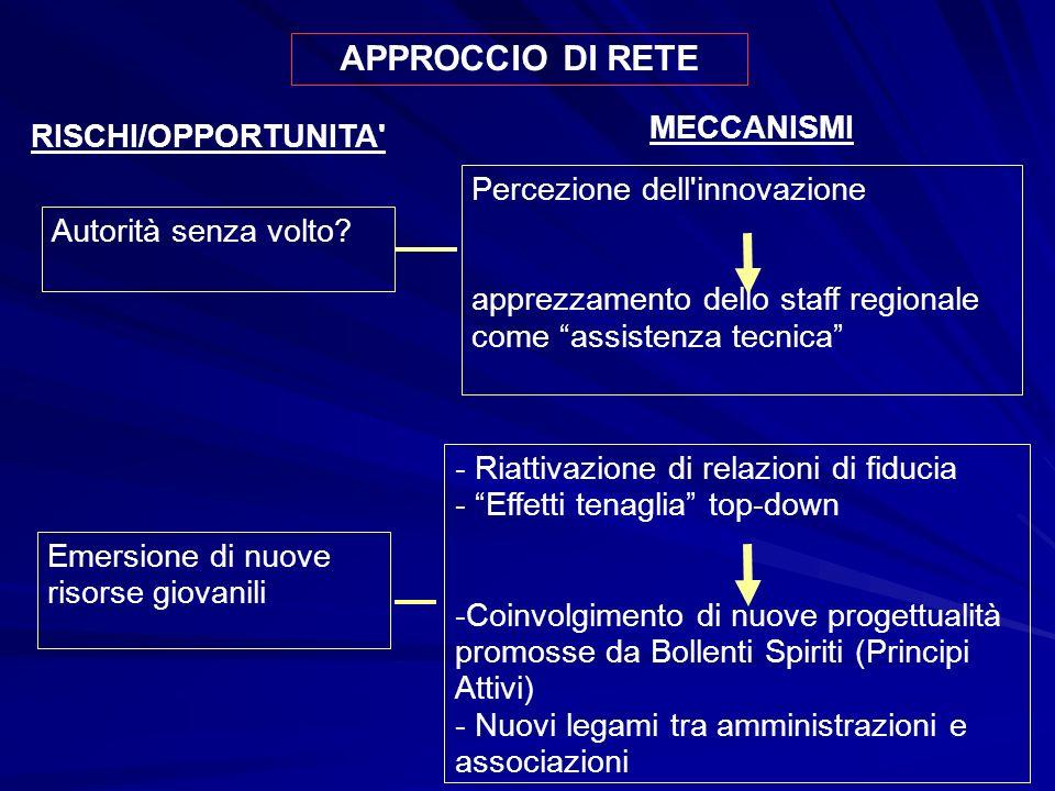 APPROCCIO DI RETE RISCHI/OPPORTUNITA Autorità senza volto.