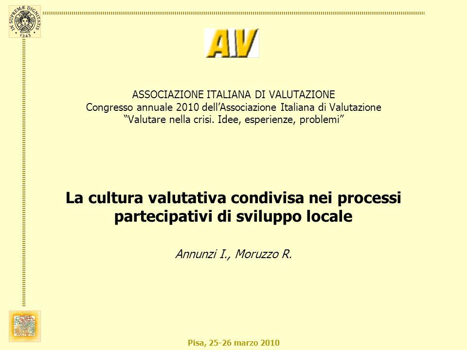 Pisa, 25-26 marzo 2010 ASSOCIAZIONE ITALIANA DI VALUTAZIONE Congresso annuale 2010 dellAssociazione Italiana di Valutazione Valutare nella crisi. Idee