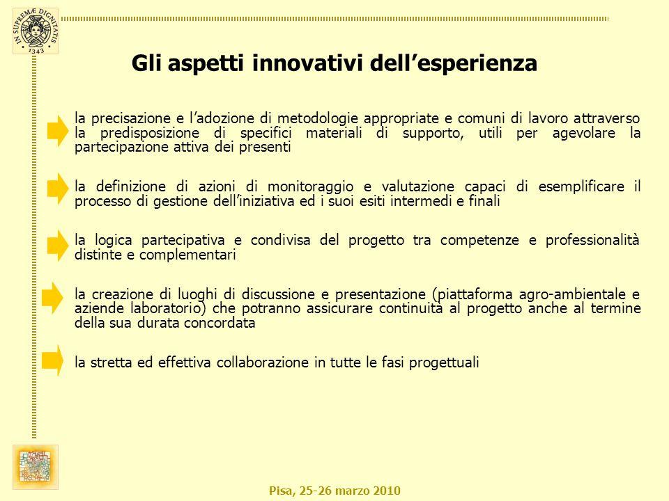 Pisa, 25-26 marzo 2010 la precisazione e ladozione di metodologie appropriate e comuni di lavoro attraverso la predisposizione di specifici materiali