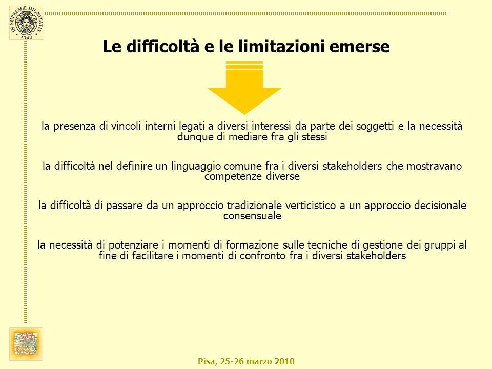 Pisa, 25-26 marzo 2010 la presenza di vincoli interni legati a diversi interessi da parte dei soggetti e la necessità dunque di mediare fra gli stessi