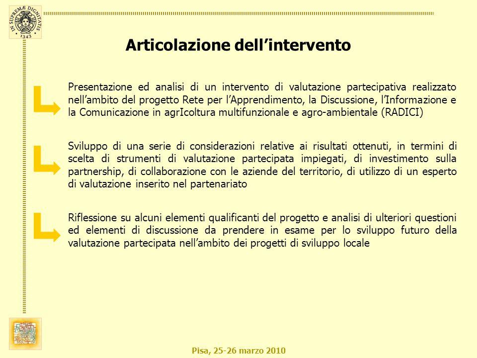 Pisa, 25-26 marzo 2010 Progetto RADICI (Rete per lApprendimento, la Discussione, lInformazione e la Comunicazione in agrIcoltura multifunzionale e agro-ambientale) Il progetto di comunicazione collettiva integrata è stato finanziato dalla provincia di Pisa (nellambito della L.R.