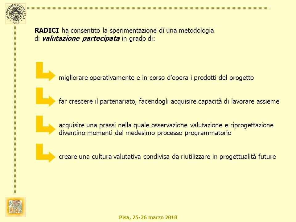 Pisa, 25-26 marzo 2010 migliorare operativamente e in corso dopera i prodotti del progetto far crescere il partenariato, facendogli acquisire capacità