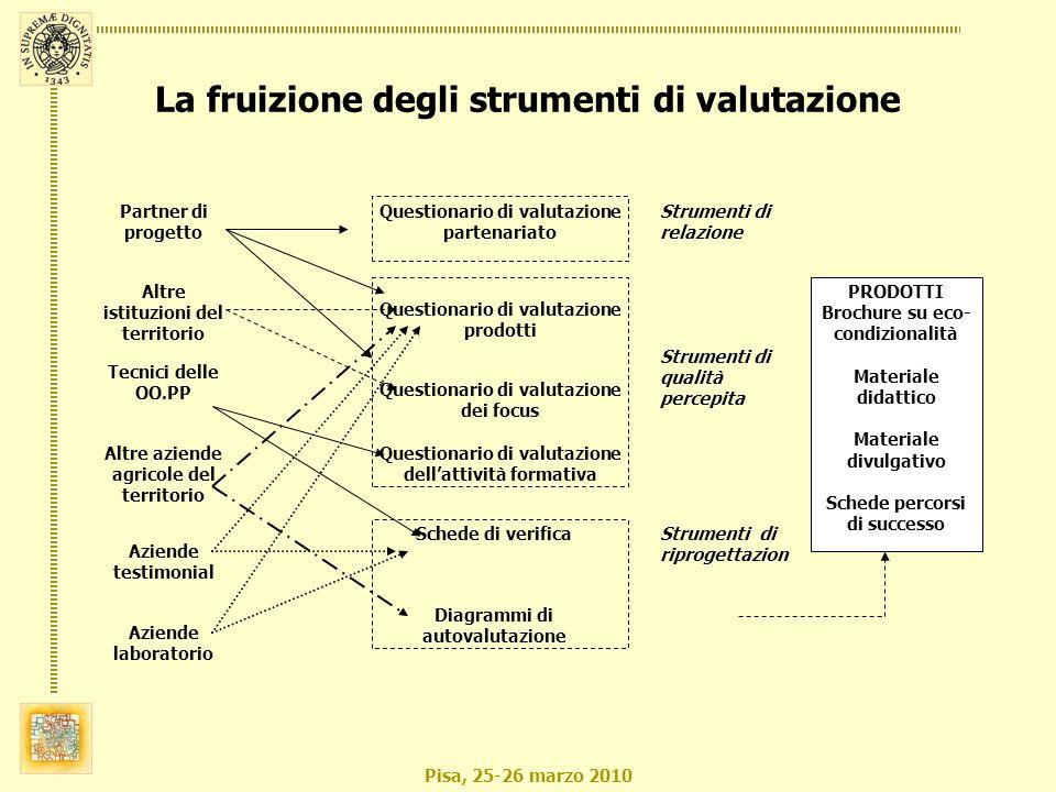 Pisa, 25-26 marzo 2010 La fruizione degli strumenti di valutazione Partner di progetto Altre istituzioni del territorio Tecnici delle OO.PP Aziende la