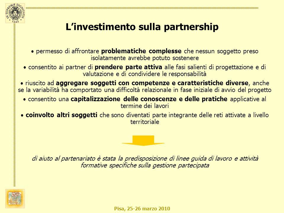 Pisa, 25-26 marzo 2010 permesso di affrontare problematiche complesse che nessun soggetto preso isolatamente avrebbe potuto sostenere consentito ai pa