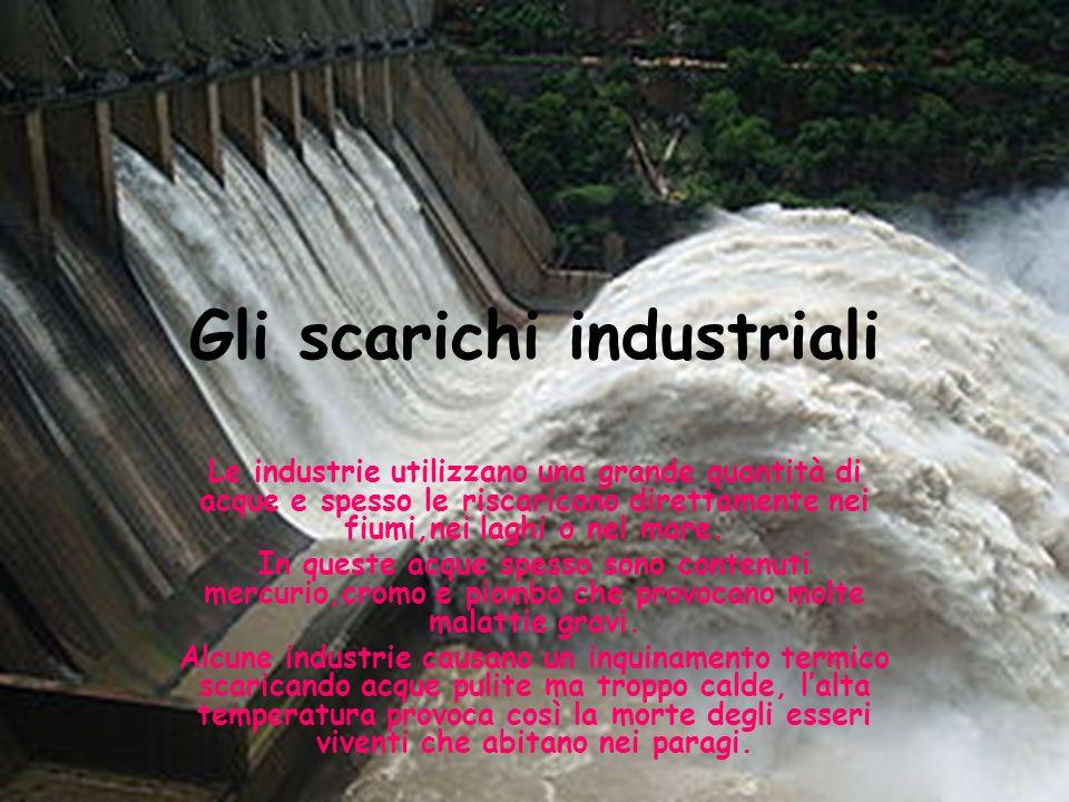 Gli scarichi industriali Le industrie utilizzano una grande quantità di acque e spesso le riscaricano direttamente nei fiumi,nei laghi o nel mare.