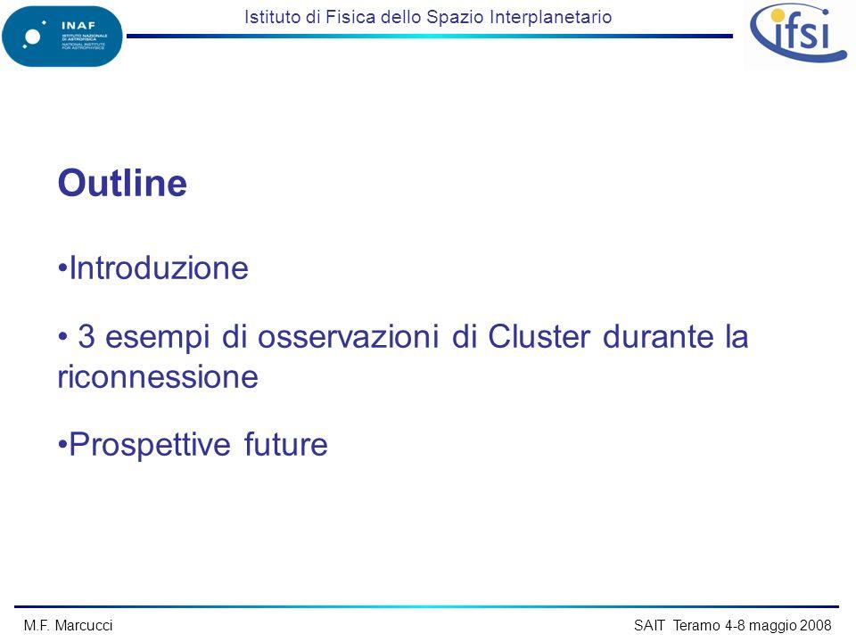 Istituto di Fisica dello Spazio Interplanetario M.F. Marcucci SAIT Teramo 4-8 maggio 2008 Outline Introduzione 3 esempi di osservazioni di Cluster dur