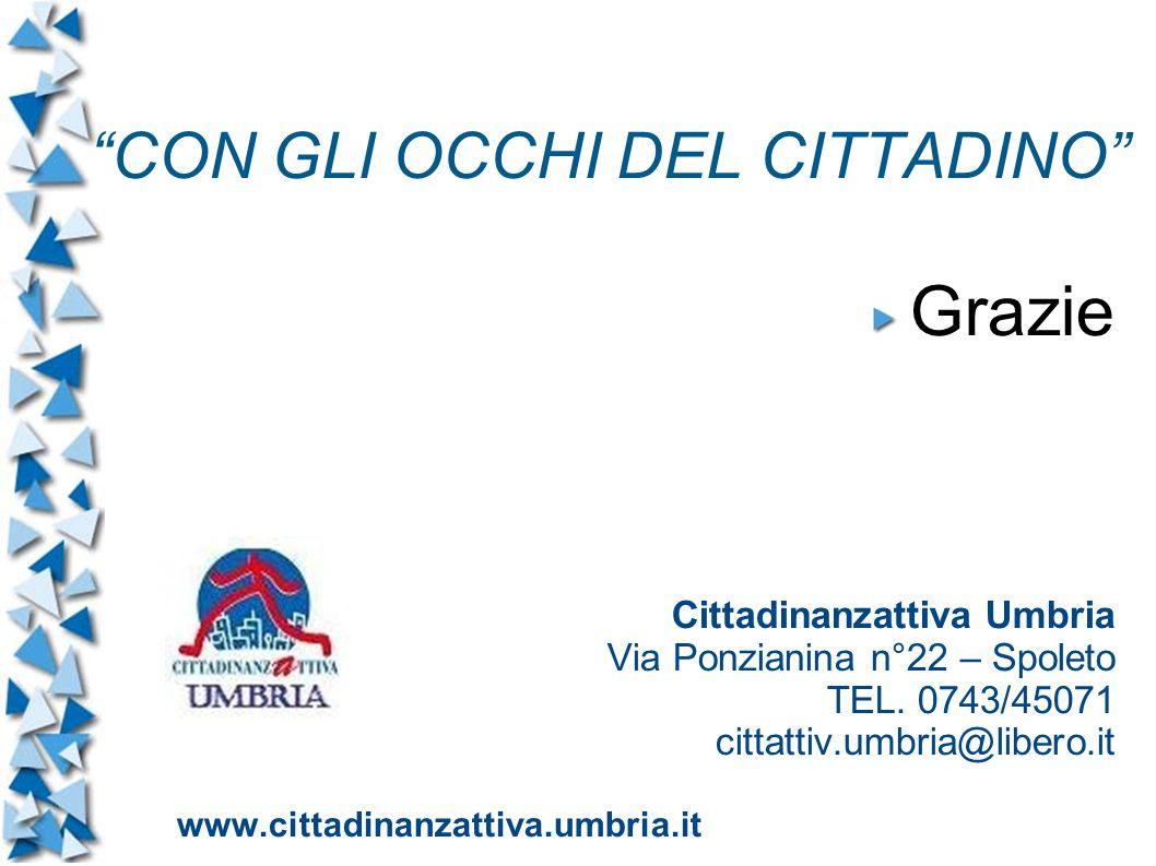 CON GLI OCCHI DEL CITTADINO Grazie Cittadinanzattiva Umbria Via Ponzianina n°22 – Spoleto TEL.