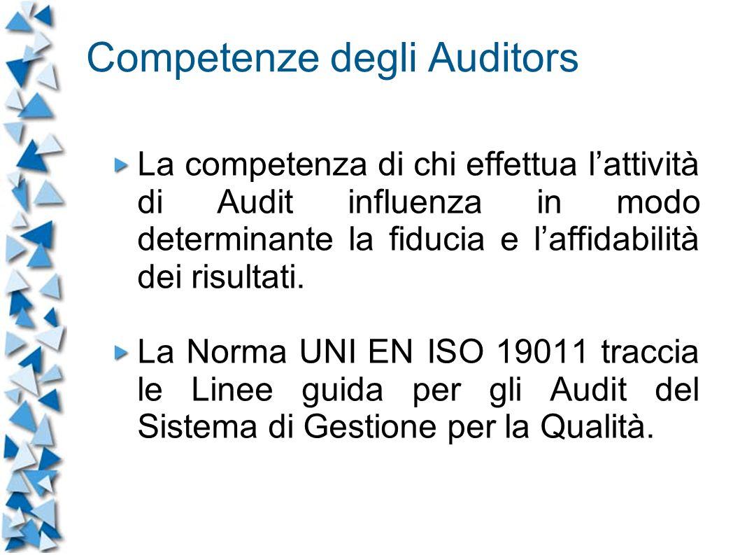 Competenze degli Auditors La competenza di chi effettua lattività di Audit influenza in modo determinante la fiducia e laffidabilità dei risultati.